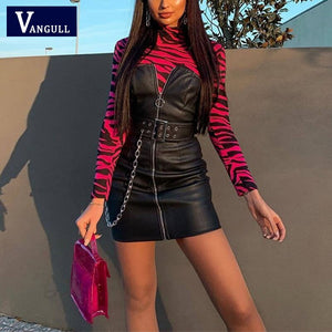 Vangull PU leather zipper chains belt patchwork slash neck high waist sexy mini dress 2020 women fashion club party clothes