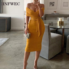 Load image into Gallery viewer, Sexy Cross Ruched Women's Dress Slash Neck Short Sleeve High Waist Tunic Slim Midi Female Dresses 2020 Fashion Clothes T216