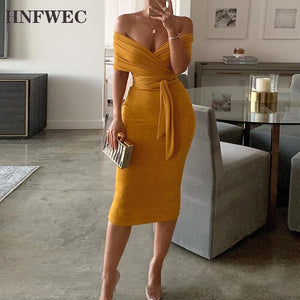Sexy Cross Ruched Women's Dress Slash Neck Short Sleeve High Waist Tunic Slim Midi Female Dresses 2020 Fashion Clothes T216