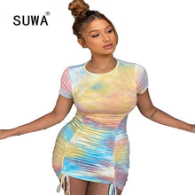 Load image into Gallery viewer, Women Fashion 2020 Newest Arrival Festival Clothes Tie Dye Ruched Bandage Bodycon Sexy Nightwear Summer Homecoming Dresses Lady