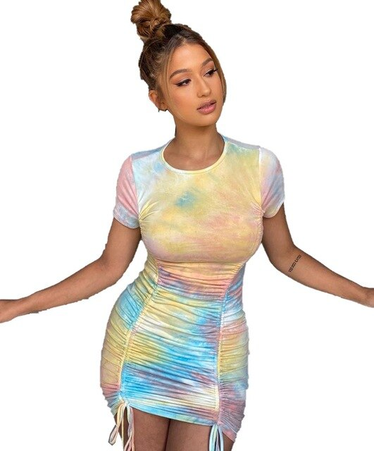Women Fashion 2020 Newest Arrival Festival Clothes Tie Dye Ruched Bandage Bodycon Sexy Nightwear Summer Homecoming Dresses Lady