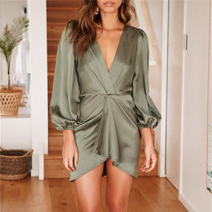 Women Sexy Deep V-Neck Bodycon OL Mini Dress Elegant High waist long Sleeve Evening Party Club Dress Ladies Fashion Clothes