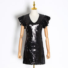 Load image into Gallery viewer, VGH Sexy Sequin Party Dress Female V Neck Puff Sleeve High Waist Slim Plus Size Mini Dresses Women Clothes 2020 Fashion New