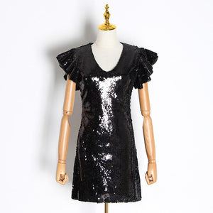 VGH Sexy Sequin Party Dress Female V Neck Puff Sleeve High Waist Slim Plus Size Mini Dresses Women Clothes 2020 Fashion New