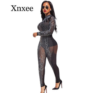 Black Rhinestone Sparkly Jumpsuit Women Turtleneck Long Sleeve Mesh Romper Sexy Sheer Birthday Nightclub Bodycon Party Overalls