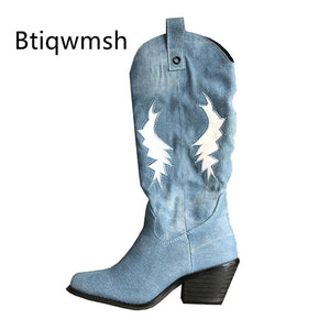 Blue Denim Cowboy Boots Women Pointed Toe Embroidered High Heel Boots Female Knee High Boots