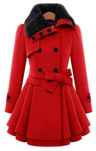 Fashion Womens Slim Trench Coats Lady Fur Collar Peacoat Winter Woolen Coat Jackets Outwear Double Breasted Elegant Coats 5XL