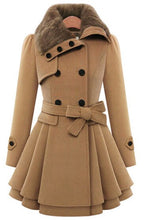 Load image into Gallery viewer, Fashion Womens Slim Trench Coats Lady Fur Collar Peacoat Winter Woolen Coat Jackets Outwear Double Breasted Elegant Coats 5XL