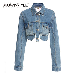 TWOTWINSTYLE Patchwork Tassel Denim Jacket For Women Lapel Long Sleeve Casual Short Coats Female 2020 Autumn Fashion New Style