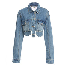 Load image into Gallery viewer, TWOTWINSTYLE Patchwork Tassel Denim Jacket For Women Lapel Long Sleeve Casual Short Coats Female 2020 Autumn Fashion New Style