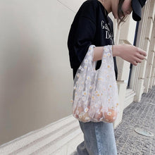 Load image into Gallery viewer, Women Transparent Tote Daisy Embroidery Handbag High Quality Eco Fruit Bag Purse For Girls Mesh Cloth Bag Organza