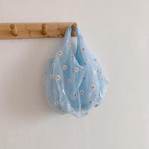 Women Transparent Tote Daisy Embroidery Handbag High Quality Eco Fruit Bag Purse For Girls Mesh Cloth Bag Organza