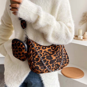 Leopard Crossbody Bags For Women High Capacity Ladies Chain Shoulder Bags And Purses Patent leather Small Handbag