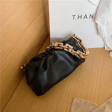 Load image into Gallery viewer, Womens designer handbags high quality 2020 New Trendy Thick chain one shoulder bag luxury black purse fashion leather cloud bag