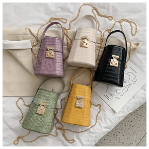 women bag PU Bucket Chains Lock Fashion Alligator Shoulder Bags purses and handbags luxury designer bag high quality