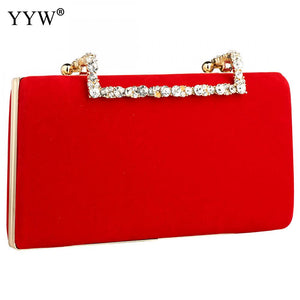 Red Flannelette Women Evening Bag With Chain Vintage Clutch High Quality Female Crossbody Bags Solid Designer Party Clutch Purse