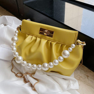 Solid color Pearl Tote bag 2020 Fashion New High-quality PU Leather Women's Designer Handbag Chain Shoulder Messenger Bag Purses