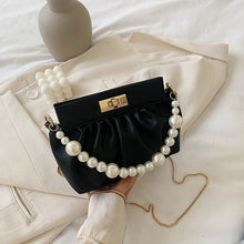 Load image into Gallery viewer, Solid color Pearl Tote bag 2020 Fashion New High-quality PU Leather Women's Designer Handbag Chain Shoulder Messenger Bag Purses