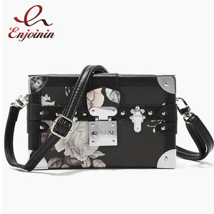 High Quality Box Design Flower Pattern Women Fashion Purses and Handbags Shoulder Chain Bag Female Party Clutch Bag Totes Pouch