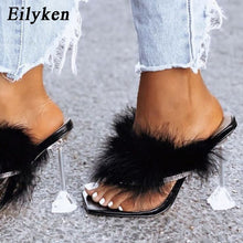 Load image into Gallery viewer, Eilyken Summer Slippers Women Furry Slides Fashion Square Toe Transparent Perspex Heels Rhinestone Sandals Female Flip Flop Shoe