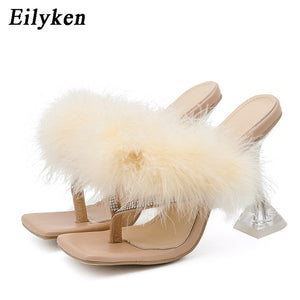 Eilyken Summer Slippers Women Furry Slides Fashion Square Toe Transparent Perspex Heels Rhinestone Sandals Female Flip Flop Shoe