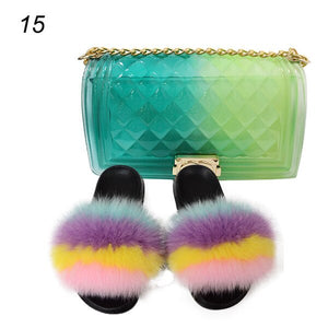 House Slippers For Women Soft Fox Fur Shoes Furry Sandals, Fox Fur Shoes and Bags, Colorful Wallet Slippers, Travel Shoe set