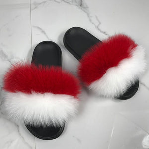 Fluffy Slides Female Sandals Furry Indoor Slippers Fox Fur Slides Plush Summer Women Cute Casual 2020 New Hot Sale