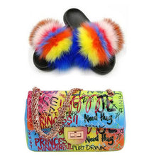 Load image into Gallery viewer, Ladies Summer Messenger Bag Furry Slippers Fox Fur Slippers Colorful Graffiti Bag Shoe Bag Set Fluffy Fur Sandals Jelly Bag Hot