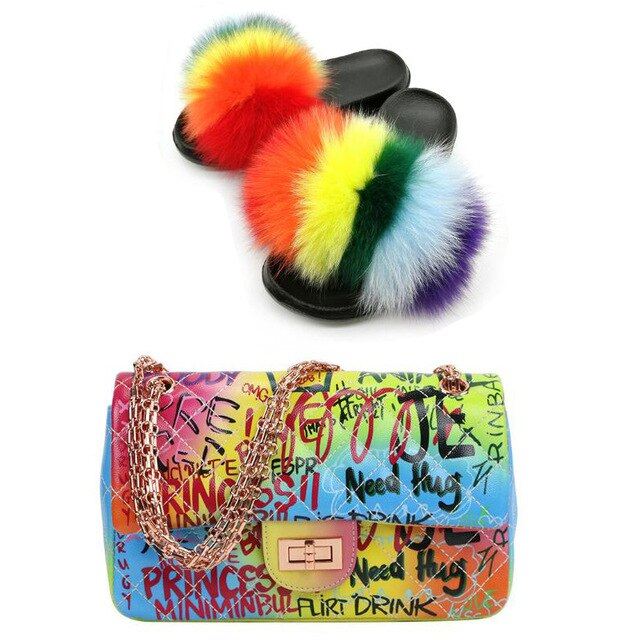 Ladies Summer Messenger Bag Furry Slippers Fox Fur Slippers Colorful Graffiti Bag Shoe Bag Set Fluffy Fur Sandals Jelly Bag Hot