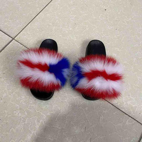 100% real fox fur slippers female fur slippers rainbow shoes cute fur flip flops women travel furry shoes L-093#