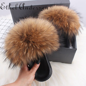 2020 Summer Women Furry Slides Cute Hot Fox Fur & Raccoon Fur Slide Home Slippers Fluffy Sandals Platform Fuzzy Shoes Sandalias