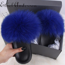 Load image into Gallery viewer, 2020 Summer Women Furry Slides Cute Hot Fox Fur & Raccoon Fur Slide Home Slippers Fluffy Sandals Platform Fuzzy Shoes Sandalias