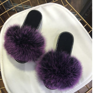 2018 hot Sale  Rhinestone  Women Fur Slippers Luxury Real Fox Fur Beach Sandal Shoes Fluffy Comfy Furry Flip Flops