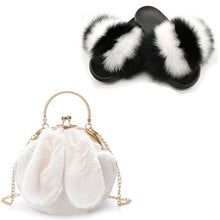 Load image into Gallery viewer, Women Summer Plush Bag Real Fox Fur Slides Fluffy Fur Slippers Cute Chain Bag Plush Shoe Bag Set Furry Fur Sandals Luxyry Slides