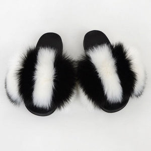 Women Fluffy Fur Flip Flops Real Fox Fur Summer Slippers Fashion Party Plush Shoes Furry Home Slippers Female Flat Beach Slides