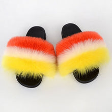 Load image into Gallery viewer, Women Fluffy Fur Flip Flops Real Fox Fur Summer Slippers Fashion Party Plush Shoes Furry Home Slippers Female Flat Beach Slides