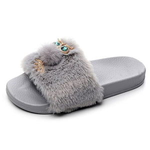 Women Cute Home Slippers Crystal Owl Furry Fur Slides 2020 New Summer Outside Casual Shoes Woman Plush Furry Flats Flip Flops