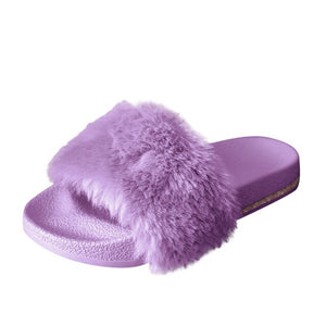 2020 Winter Home Shoes Women House Slippers Warm Faux Fur Ladies Cross Soft Plush Furry Female Open Toe Slides Fashion Shoes