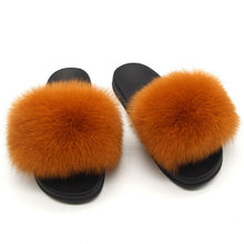 Load image into Gallery viewer, Women Furry Slippers Real Fox Fur Slides Mixed-color Summer Fur  Sandals Woman's Casual Fluffy Flip Flops Plush Home Slippers