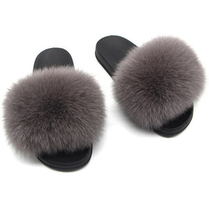 Women Furry Slippers Real Fox Fur Slides Mixed-color Summer Fur  Sandals Woman's Casual Fluffy Flip Flops Plush Home Slippers
