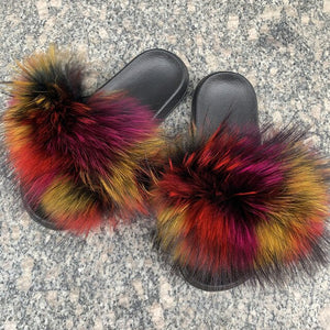 Luxury Women Real Fur Slides Raccoon Fur Slippers Ladies Flat Fluffy Home Slippers Summer Casual Plush Furry Flip Flops Sandals