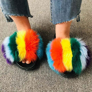 Summer Women Fluffy Fur Slippers Plush Fur Sandals Ladies Real Fox Fur Slides Soft Flat Home Slippers Furry Indoor Flip Flops