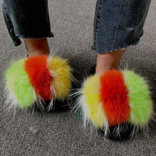 Load image into Gallery viewer, Summer Women Fluffy Fur Slippers Plush Fur Sandals Ladies Real Fox Fur Slides Soft Flat Home Slippers Furry Indoor Flip Flops