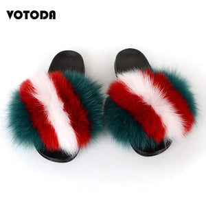Woman Luxury Furry Slippers Fur Slides For Women Fluffy Cute Raccoon Sandals Real Fox Fur Flip Flops Lady Indoor Soft Flat Shoes