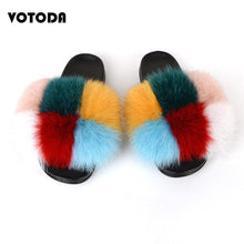 Load image into Gallery viewer, Woman Luxury Furry Slippers Fur Slides For Women Fluffy Cute Raccoon Sandals Real Fox Fur Flip Flops Lady Indoor Soft Flat Shoes