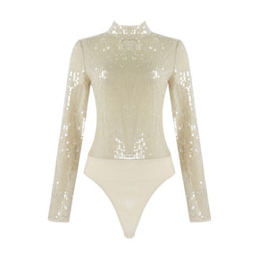 2020 Summer New Women'S Sexy Apricot Long-Sleeved Sequined Turtleneck Bodysuit Bodycon Celebrity Club Party Bodysuit