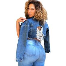 Load image into Gallery viewer, New Spring Autumn Blue Ripped Denim Jacket Coat Women Plus Size 5XL Jeans Jackets Long Sleeve Cropped Short Bomer Jacket Coat