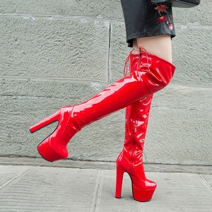 Rimocy Women Platform Over The Knee Boots Sexy 17CM Super High Heels Red Patent Leather Long Boots Woman 2020 Winter Black Shoes