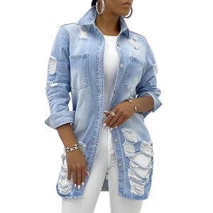 Jean Jacket for Women  Solid Turn-down Collar Loose Casual Blue Fashionable Women Coats Female Outwear Denim Coat Feminine