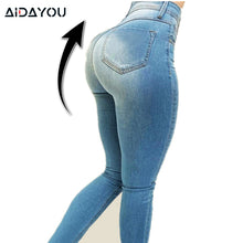 Load image into Gallery viewer, Womens Push Up Jeans Butt Lifting Jean Denim Pants Elastic Super Good Stretch Elastic Butt Lift ouc292